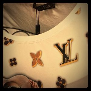 Louis Vuitton Model On Car w bling adornments Tee